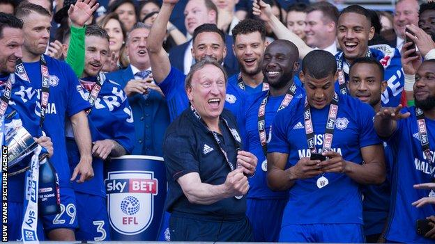 Cardiff City celebrate promotion