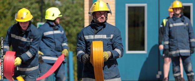 Joe Bearman on a training exercise with the South Wales Fire and Rescue Service