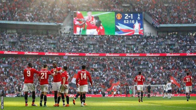 Manchester United celebrate goal