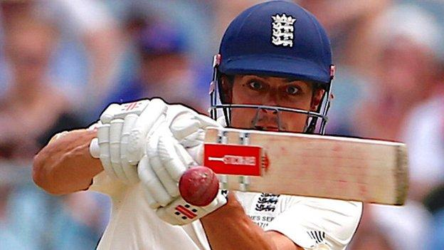 Alastair Cook pulls during his Melbourne double hundred