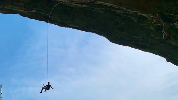 Erin Sterkenburg being lowered after completing a climb at the Galaxy Wall in Shongweni, South Africa