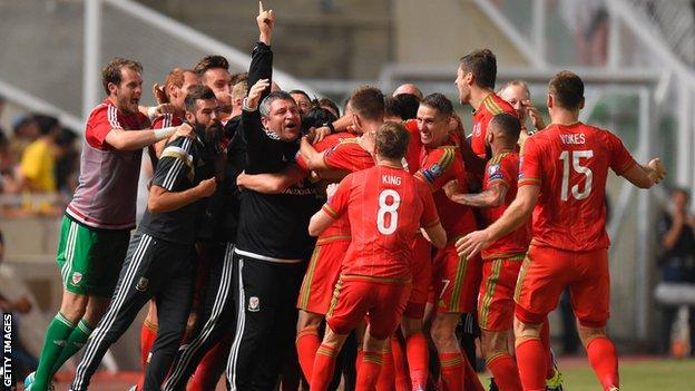 Wales celebrate Gareth Bale's goal against Cyprus