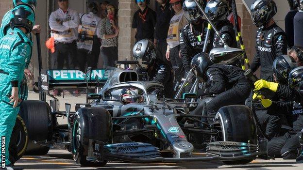 Lewis Hamilton pits at the United States Grand Prix