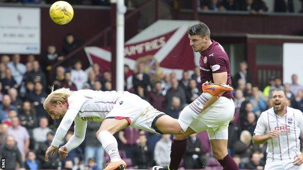 Callum Paterson has a chance for Hearts against Ross County