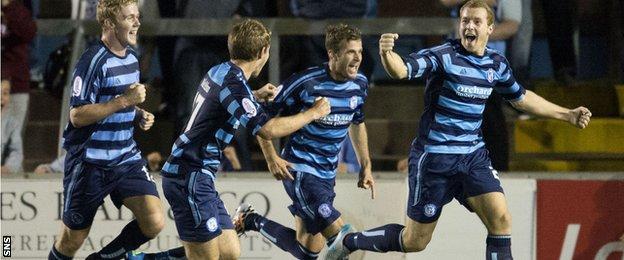 Michael Dunlop celebrates scoring for Forfar Athletic against Hearts