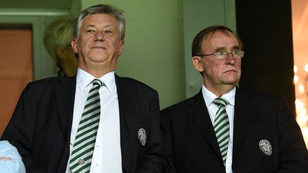 Celtic chief executive Peter Lawwell and finance director Eric Riley