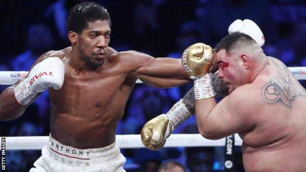 Anthony Joshua in action against Andy Ruiz Jr