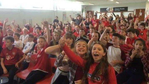 Pupils at Ysgol David Hughes, Porthaethwy, on Anglesey, north Wales