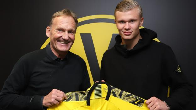 Image result for images of Borussia Dortmund sign Erling Braut Haaland from Red Bull Salzburg