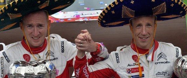 Paul Nagle and Kris Meeke celebrate winning in Mexico in 2017