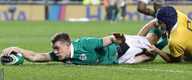 Ringrose scored his first Ireland try in the win over Australia in November 2016