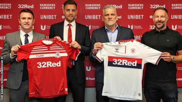 Jonathan Woodgate with Middlesbrough's new coaching team