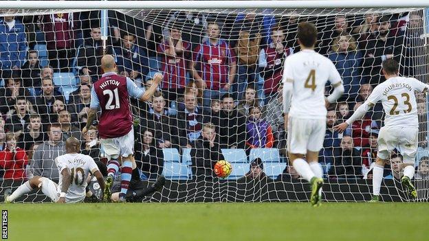 Andre Ayew (left) scores Swansea's winner at Aston Villa