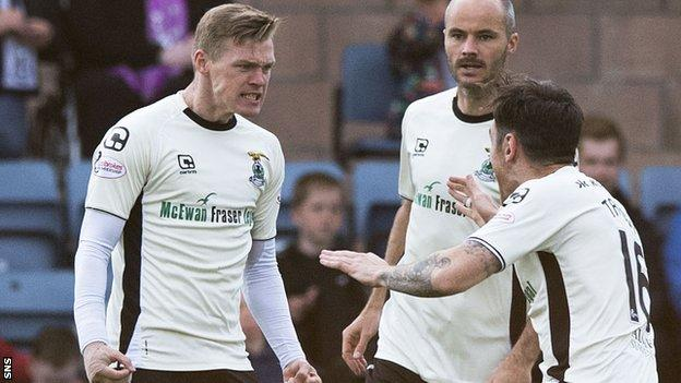 Billy Mckay (left) celebrates scoring for Inverness Caledonian Thistle