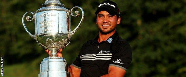 Jason Day with the US PGA Championship trophy