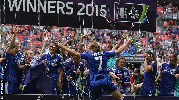 Chelsea Ladies celebrate their Women's FA Cup final win