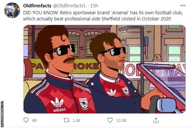 Did you know? Retro sportswear brand Arsenal has its own football club, which actually beat professional side Sheffield United in October 2020