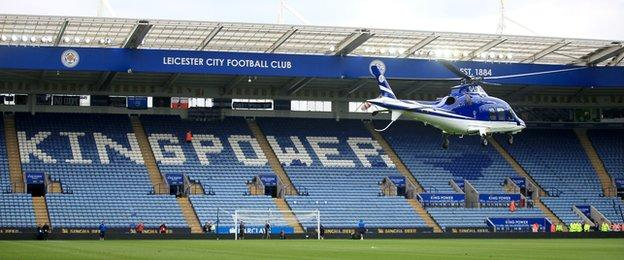 helicopter takes off from the King Power Stadium