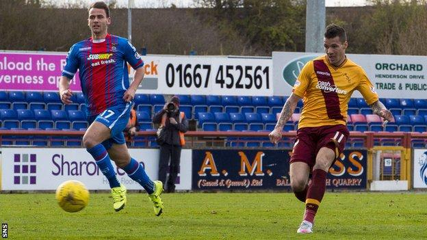 Marvin Johnson scores for Motherwell against Inverness Caledonian Thistle