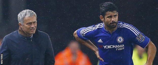 Chelsea manager Jose Mourinho and striker Diego Costa