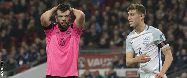 Grant Hanley missed with a free header from a corner shortly after England opened the scoring