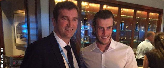 Real Madrid forward Gareth Bale (right) and Manchester City chief executive Ferran Soriano