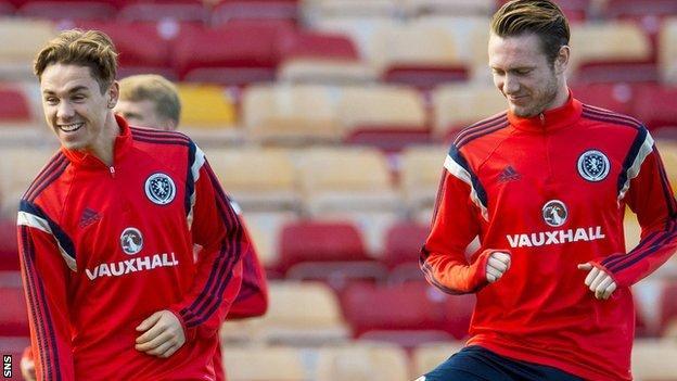 Hearts duo Sam Nicholson (left) and Jordan McGhee trains with Scotland's Under-21 side