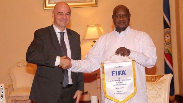 Fifa President Gianni Infantino meets the President of Uganda, Yoweri Museveni