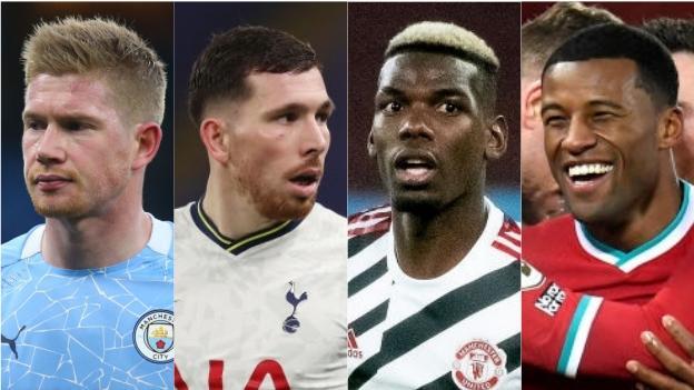 Kevin de Bruyne (Manchester City), Pierre-Emile Hojbjerg (Tottenham), Paul Pogba (Manchester United), Georginio Wijnaldum (Liverpool)