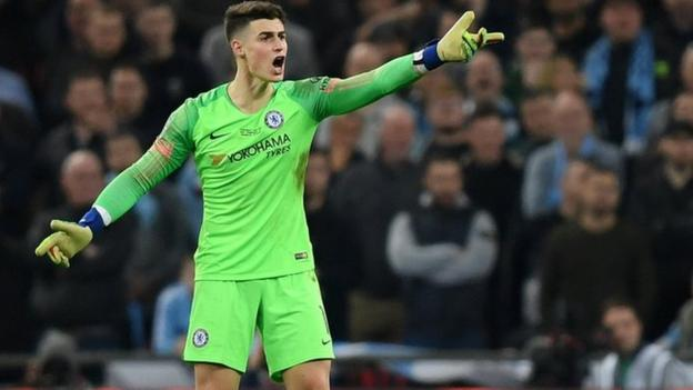 Kepa Arrizabalaga of Chelsea refuses to be substituted during the Carabao Cup Final between Chelsea and Manchester City at Wembley Stadium on February 24, 2019 in London, England.