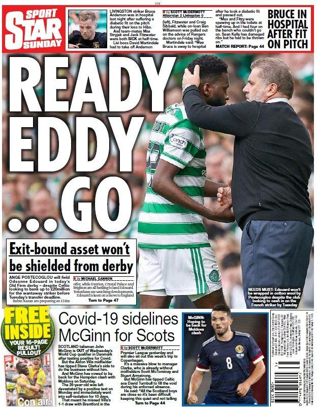 The back page of the Scottish Daily Star on 290821