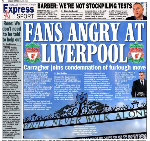 The Sunday Express point to Jamie Carragher's criticism of his former club