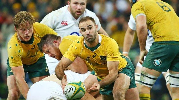 Nick Frisby in action for Australia against England