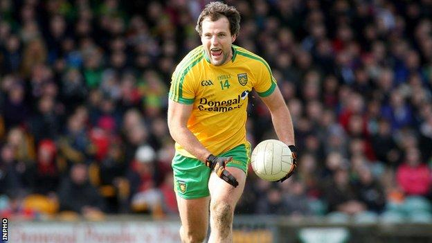 Michael Murphy received a big cheer as he was introduced for his 100th Donegal appearance