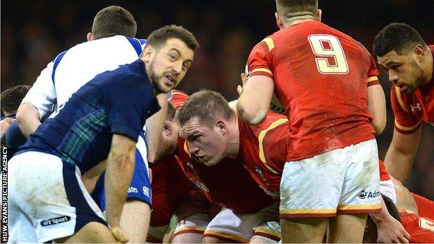 Gethin Jenkins packs down for Wales against Scotland