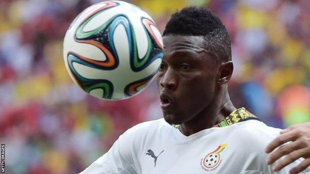 Abdul Majeed Waris heads the ball while playing for Ghana