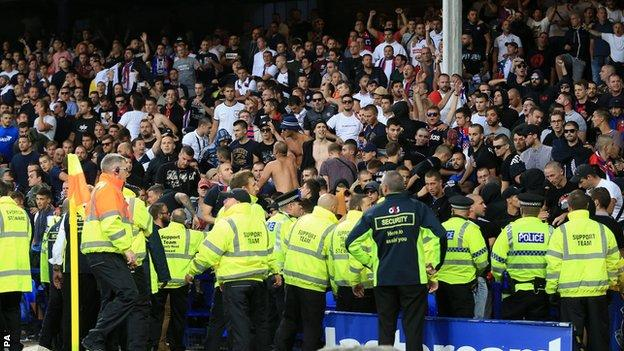 Crowd disturbance at Everton's game against Hajduk Split