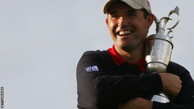 Padraig Harrington with Claret Jug after winning 2007 Open Championship