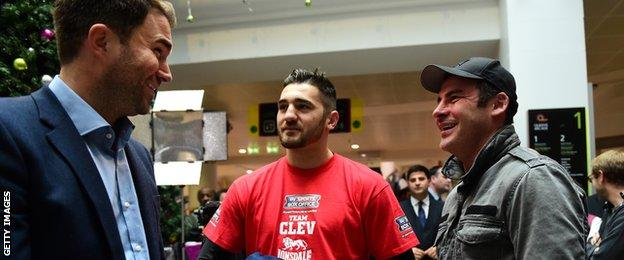 Joe with Eddie Hearn (promoter) and Nathan Cleverly (boxer)