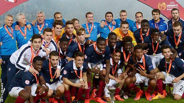 Odsonne Edouard, front row fourth from left, was top scorer and player of the tournament as France U-17s won the 2015 Euro Championship