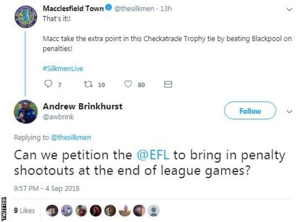 """Macclesfield Town's fans react on Twitter to their team winning another penalty shootout by saying: """"Can we petition for them at the end of league games?"""""""