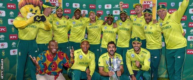 South Africa with the T20 series trophy