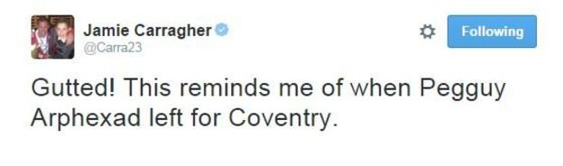 Jamie Carragher's tongue in cheek tweet was one of 40,000 in an hour following Valencia's announcement
