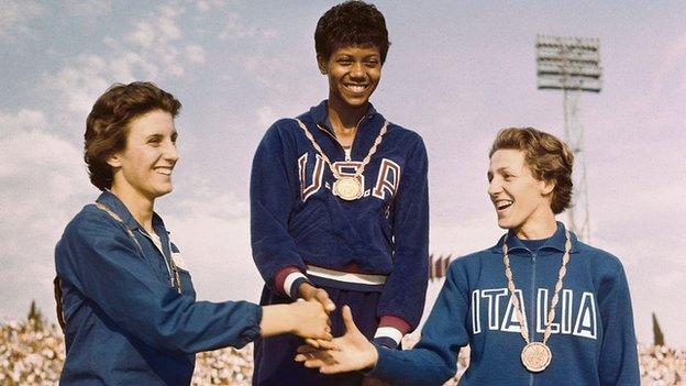 Wilma Rudolph at the 1960 Olympic Games medal ceremony
