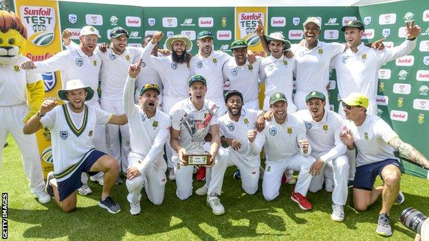 South Africa celebrate their 3-1 Test series victory