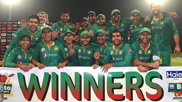 Pakistan celebrate after the one-day series
