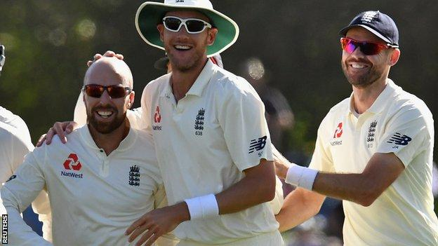 Jack Leach, Stuart Broad and James Anderson