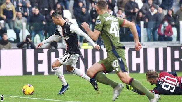 Juventus Cagliari Cristiano Ronaldo Scores First Serie A Hat trick BBC Sport