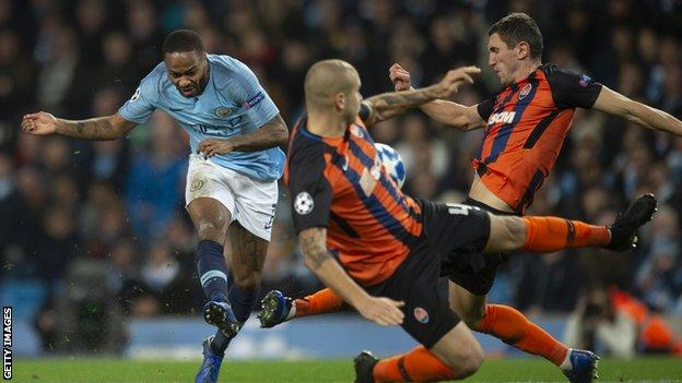 Raheem Sterling scores against Shakhtar Donetsk