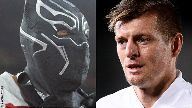 Split screen. Left: Pierre-Emerick Aubameyang wearing mask. Right: Toni Kroos